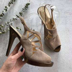 AUDREY BROOKE Taupe Clever Leather Peep Toe Heels